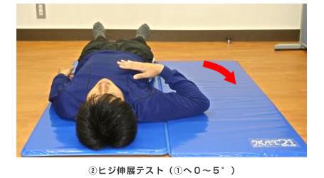 (2)ヒジ伸展テスト((1)へ0~5°)